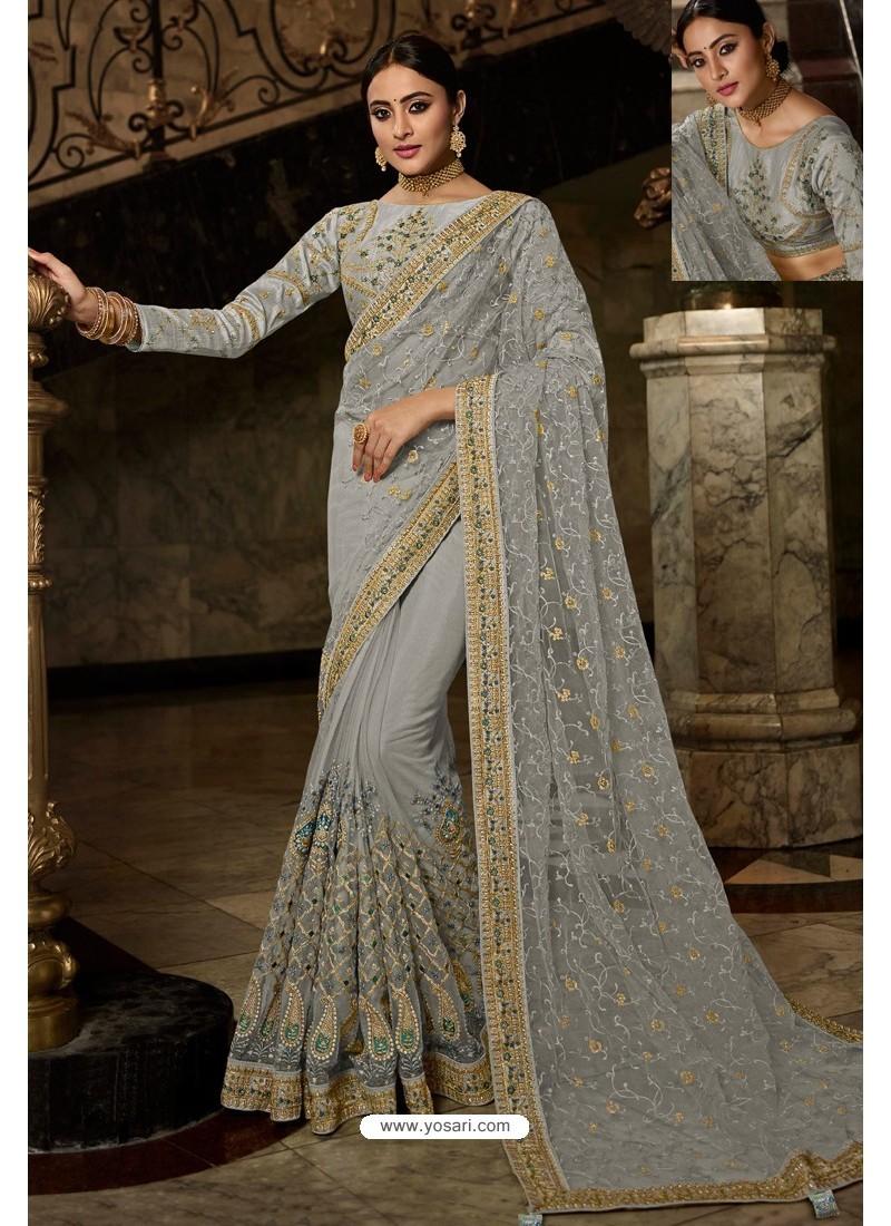 Light Grey Net Embroidered Designer Wedding Saree