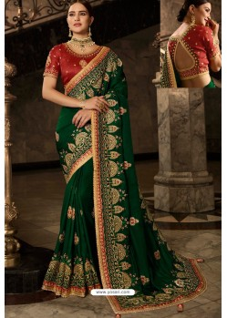 Dark Green Soft Silk Embroidered Designer Wedding Saree