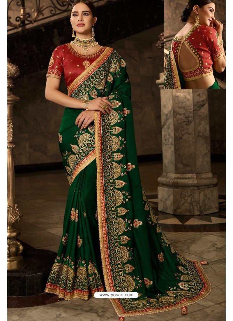 Dark Green Soft Silk Embroidered Designer Wedding Saree