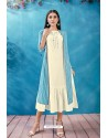 Off White Cotton Thread Worked Readymade Kurti