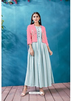 Sky Blue Handloom Cotton Thread Worked Readymade Kurti