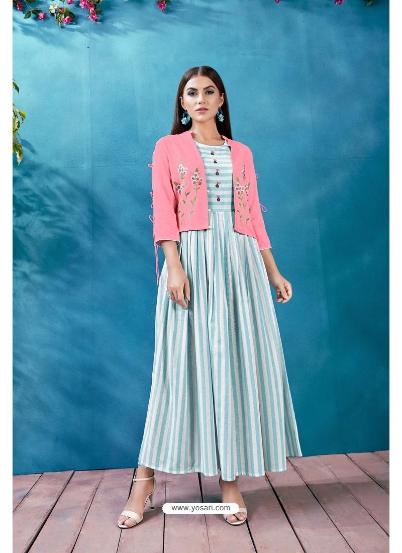 Sky Blue Handloom Cotton Thread Worked Readymade Kurti
