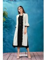 Black Rayon Thread Worked Readymade Kurti