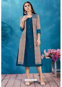 Teal Blue Cotton Printed Readymade Kurti