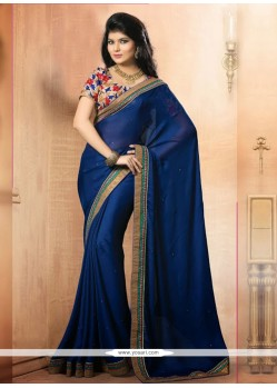 Imperial Blue Satin Chiffon Casual Saree