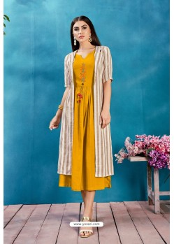 Mustard Rayon Thread Worked Readymade Kurti