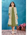 Mehendi Cotton Thread Worked Readymade Kurti