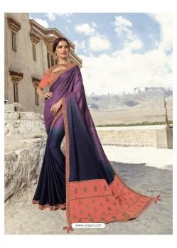 Purple And Navy Soft Silk Designer stone Worked Saree