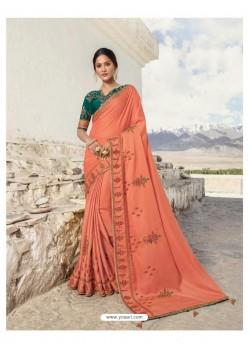 Orange Soft Silk Designer stone Worked Saree