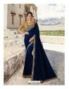 Navy Blue Soft Silk Designer stone Worked Saree