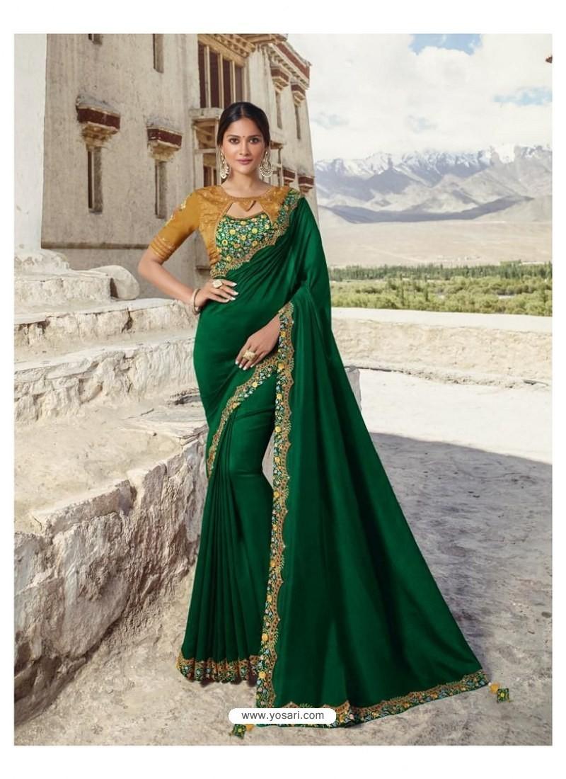 Dark Green Soft Silk Designer stone Worked Saree