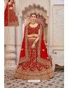Red Velvet Jari Embroidery Bridal Lehenga Choli