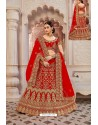 Pretty Red Velvet Jari Embroidery Bridal Lehenga Choli