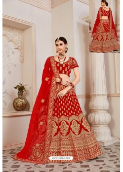 Beautiful Red Velvet Jari Embroidery Bridal Lehenga Choli