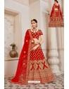 Beautiful Red Velvet Jari Embroidery Bridal Lehenga Choli