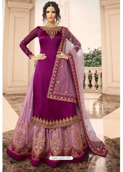 Purple Satin Georgette Embroidered Designer Lehenga Style Suit