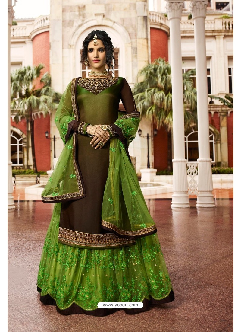 Green And Brown Satin Georgette Embroidered Designer Lehenga Style Suit
