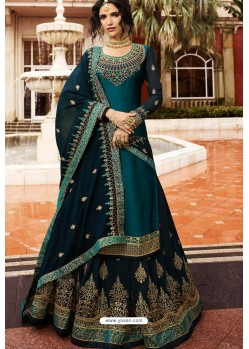 Teal Blue Satin Georgette Embroidered Designer Lehenga Style Suit