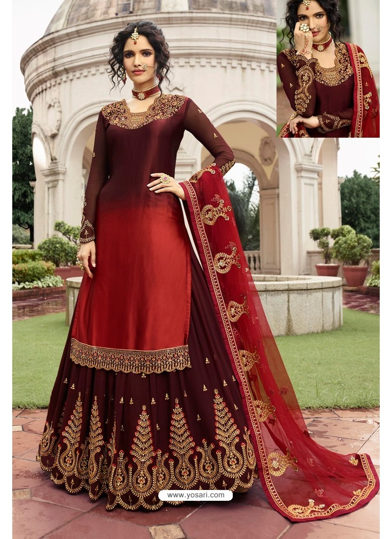 Maroon And Red Satin Georgette Embroidered Designer Lehenga Style Suit