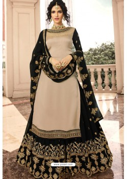 Beige And Black Satin Georgette Embroidered Designer Lehenga Style Suit