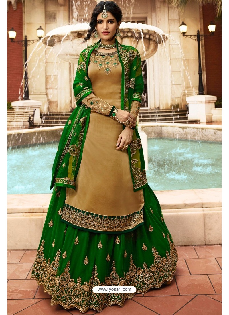 Gold And Green Satin Georgette Embroidered Designer Lehenga Style Suit