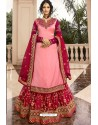 Pink And Rani Satin Georgette Embroidered Designer Lehenga Style Suit