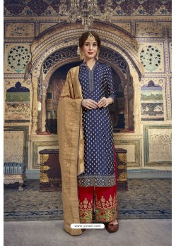 Navy Blue Banarasi Jacquard Embroidered Designer Suit