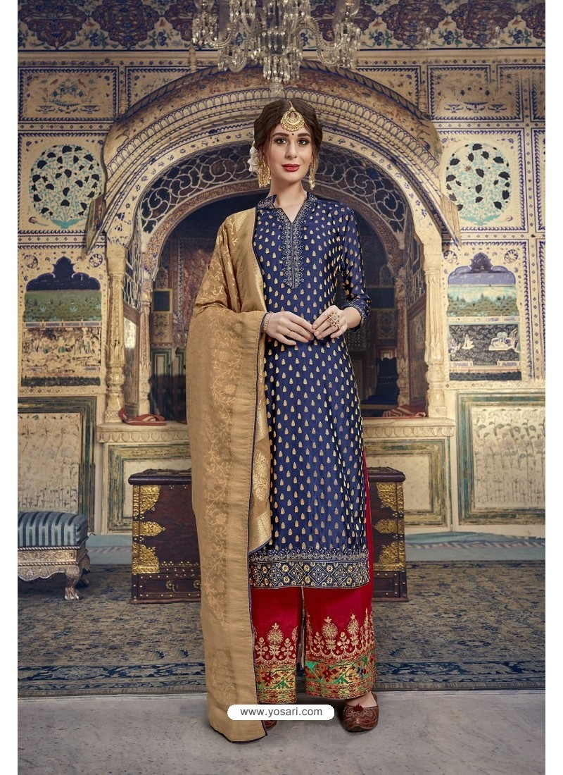 Navy Blue Banarasi Jacquard Embroidered Designer Suit