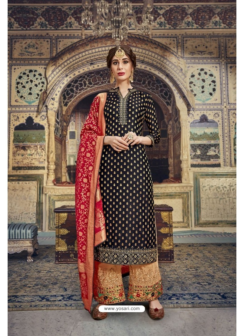 Black Banarasi Jacquard Embroidered Designer Suit