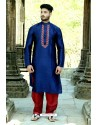 Navy Blue Fancy Silk Embroidered Kurta Pajama