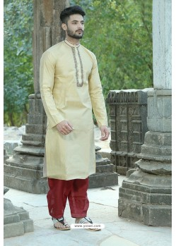 Cream Silk Embroidered Kurta Pajama
