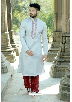 Light Grey Polyster Cotton Embroidered Kurta Pajama