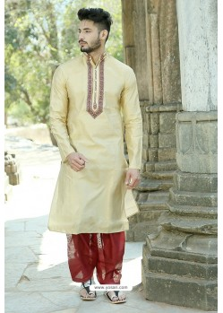 Light Beige Silk Embroidered Kurta Pajama