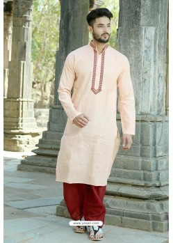 Light Orange Polyster Cotton Embroidered Kurta Pajama