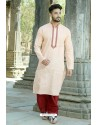 Light Orange Polyster Cotton Embroidered Kurta Pajama