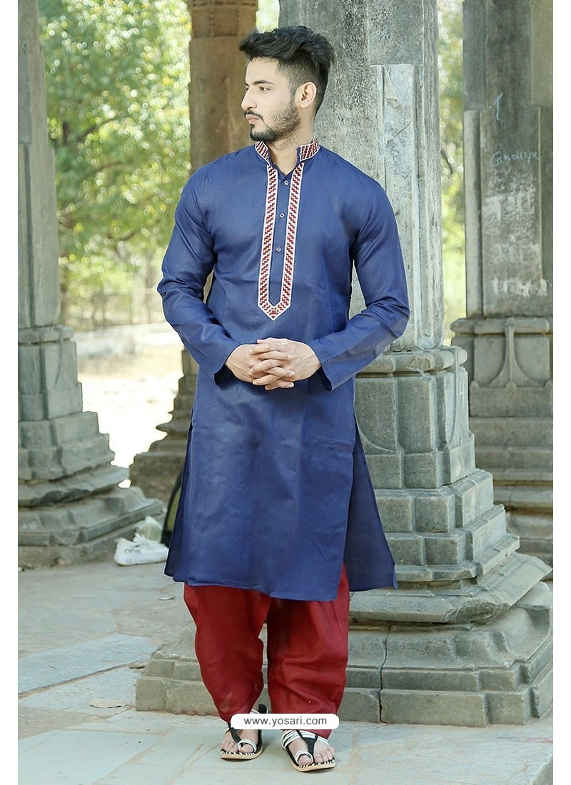 Classy Navy Blue Polyster Cotton Embroidered Kurta Pajama