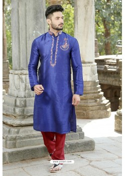 Stylish Navy Blue Fancy Silk Embroidered Kurta Pajama