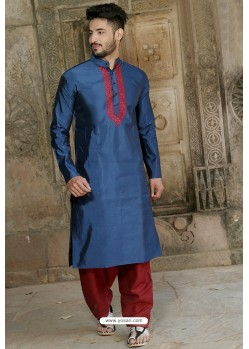 Latest Navy Blue Fancy Silk Embroidered Kurta Pajama