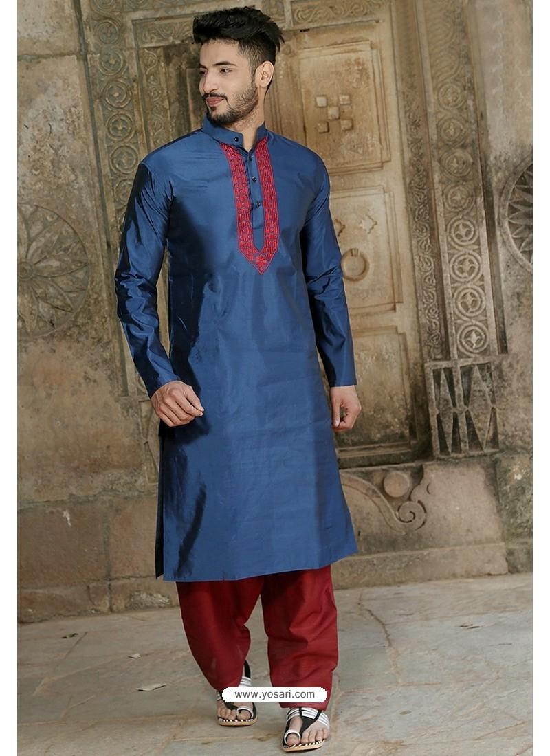 Latest Navy Blue Fancy Silk Embroidered Kurta Pajama
