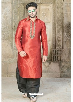 Red Fancy Silk Embroidered Kurta Pajama