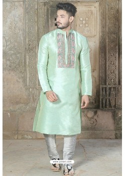 Sea Green Fancy Silk Embroidered Kurta Pajama