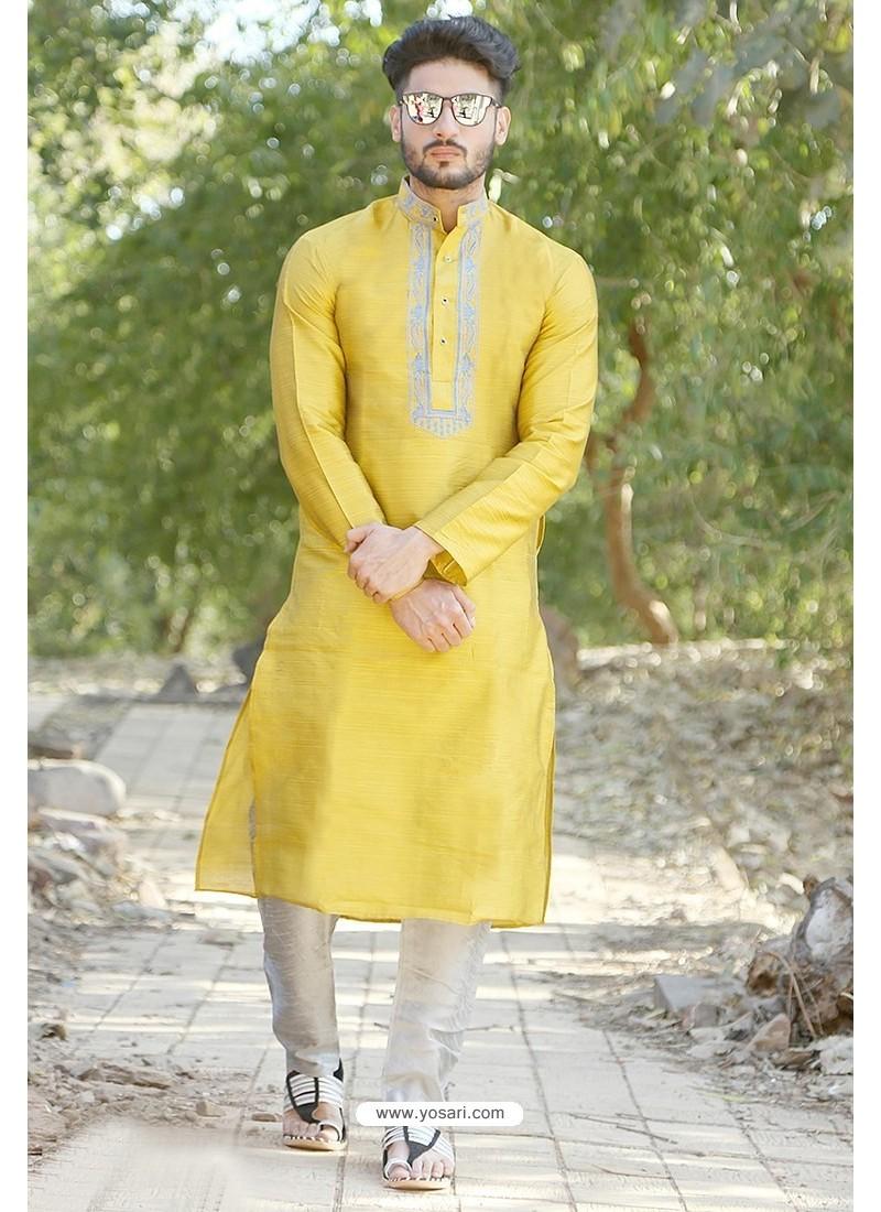 Yellow Fancy Silk Embroidered Kurta Pajama