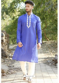 Blue Polyster Cotton Embroidered Kurta Pajama