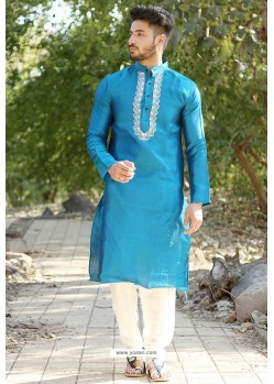 Teal Blue Fancy Silk Embroidered Kurta Pajama