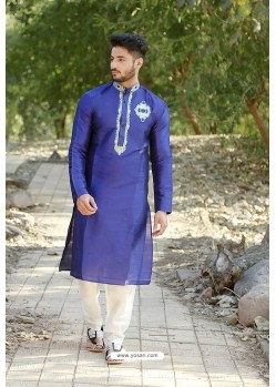 Dark Blue Fancy Silk Embroidered Kurta Pajama