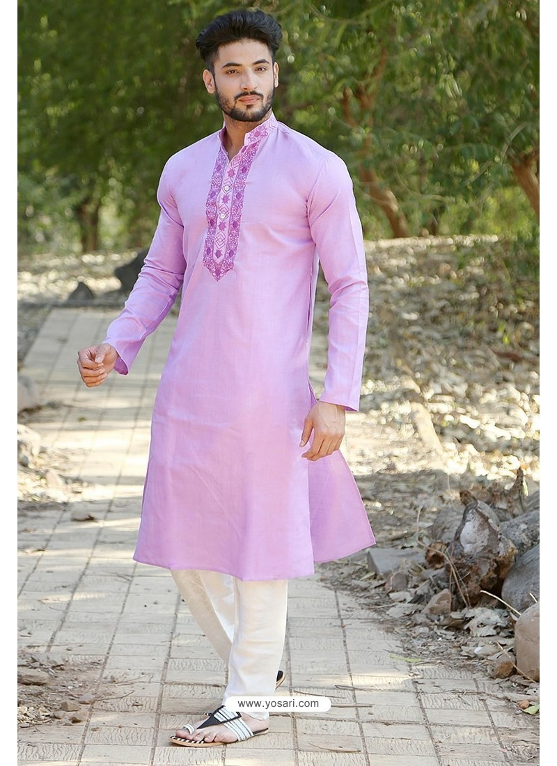 Mauve Polyster Cotton Embroidered Kurta Pajama