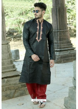 Black Polyster Cotton Embroidered Kurta Pajama