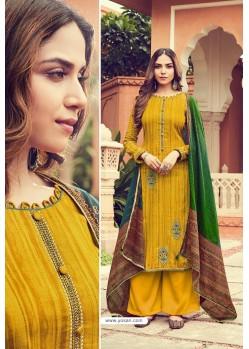 Yellow Pure Jam Silk Palazzo Suit