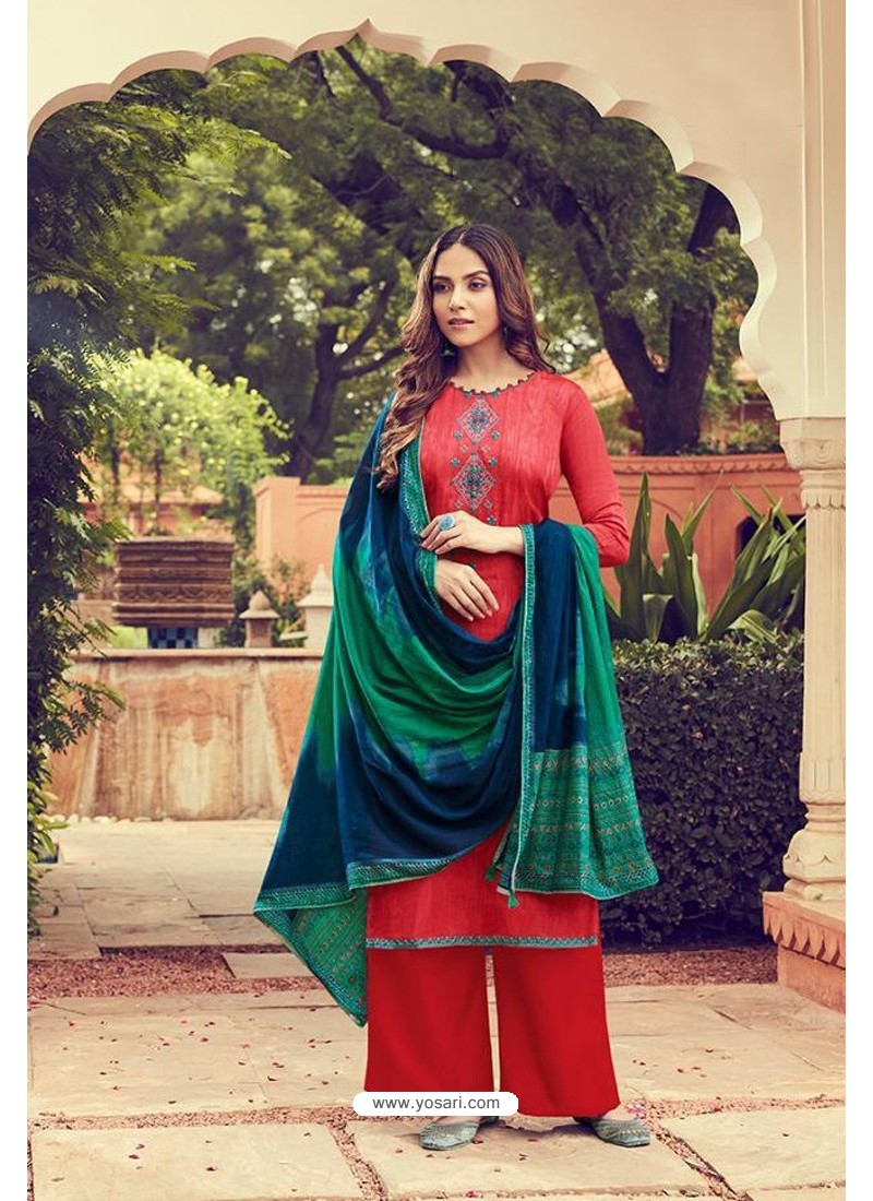 Red Pure Jam Silk Palazzo Suit