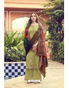 Olive Green Pure Jam Silk Palazzo Suit